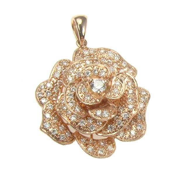 18k rose gold diamond rose pendant jewerly Pinterest Rose gold
