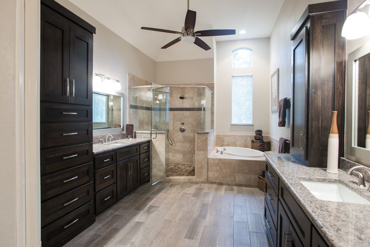 a transitional master bathroom in southlake tx with dark on modern functional bathroom design id=43837