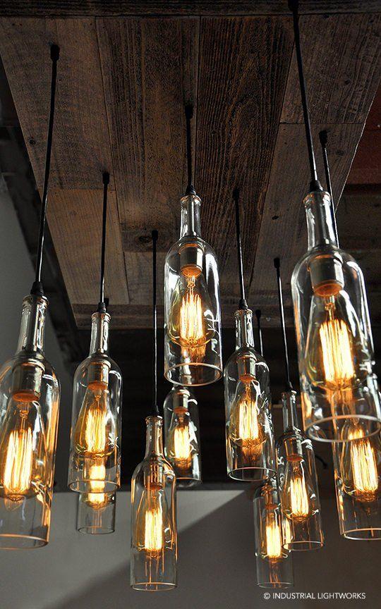 11 Wine Bottle Pendant Chandelier - Reclaimed Wood Wine Bottle Chandelier - Dining Room Lighting, Wi images