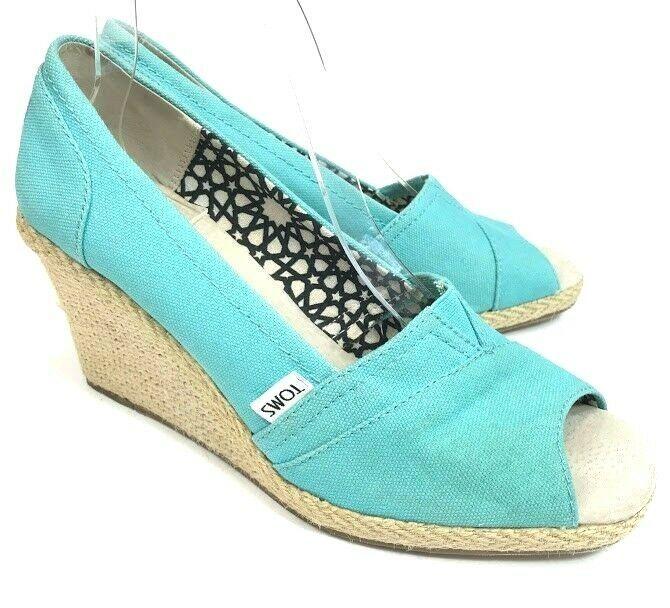 1e7bccfec2f Toms Calypso Womens Espadrille Wedge Sandals Aqua Blue Size 9.5 Peep Toe  Canvas  Toms