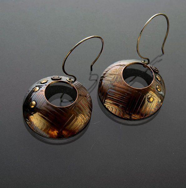 *Handgemachte Kupfer Ohrringe mit Nieten*
