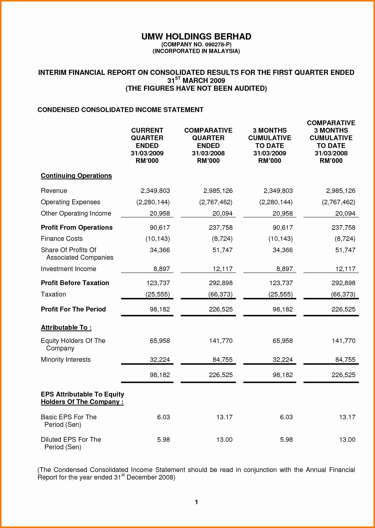 Quickbooks Pro Forma Financial Statements Statement Template Financial Statement Income Statement Pro forma financial statement template