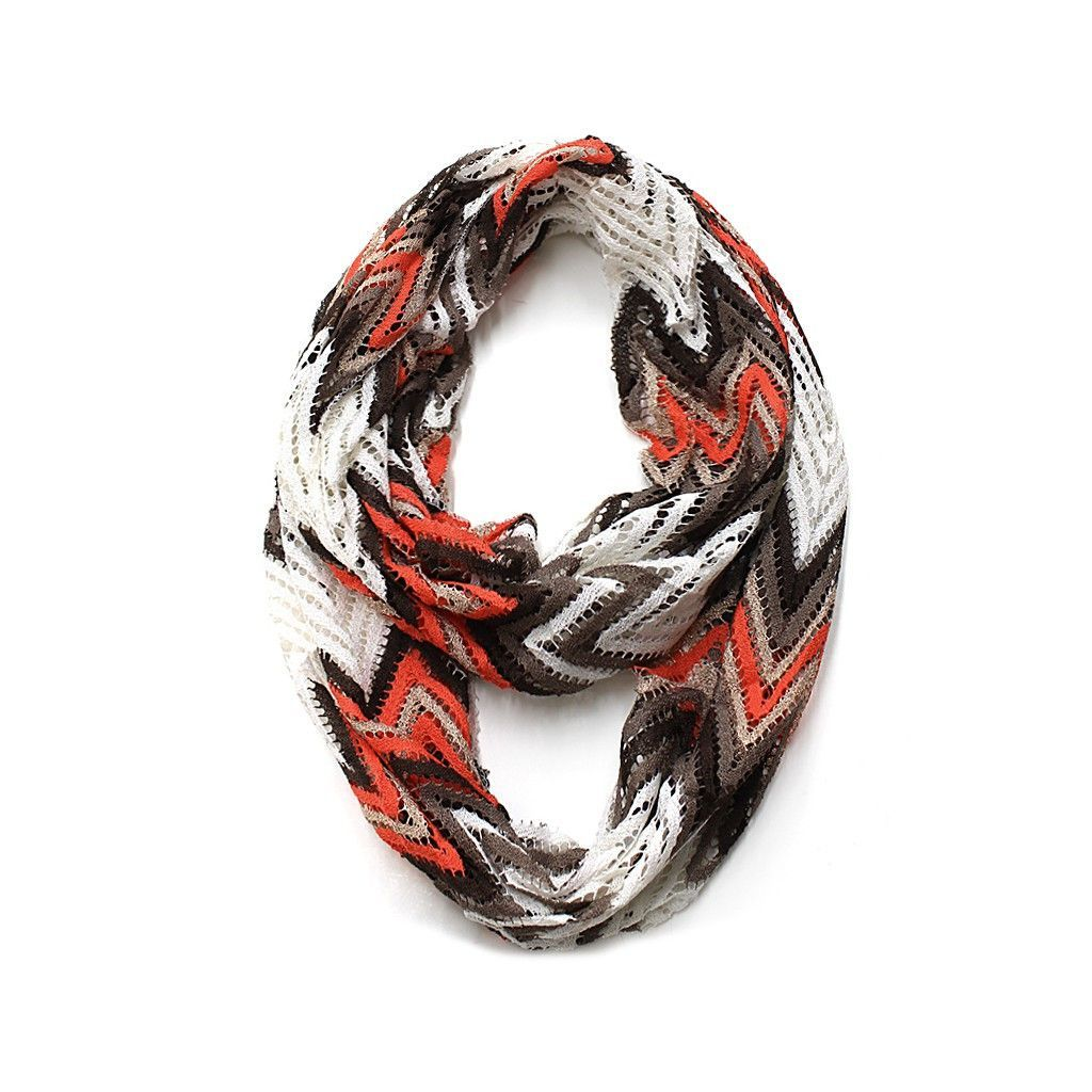 Brown & Coral Multi Zig Zag Infinity Scarf | Products | Pinterest