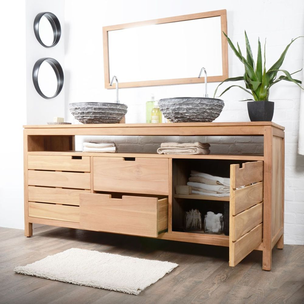 Waschtisch Waschbeckenschrank Badezimmer Unterschrank Massiv Holz Teak Badmobel Badrum