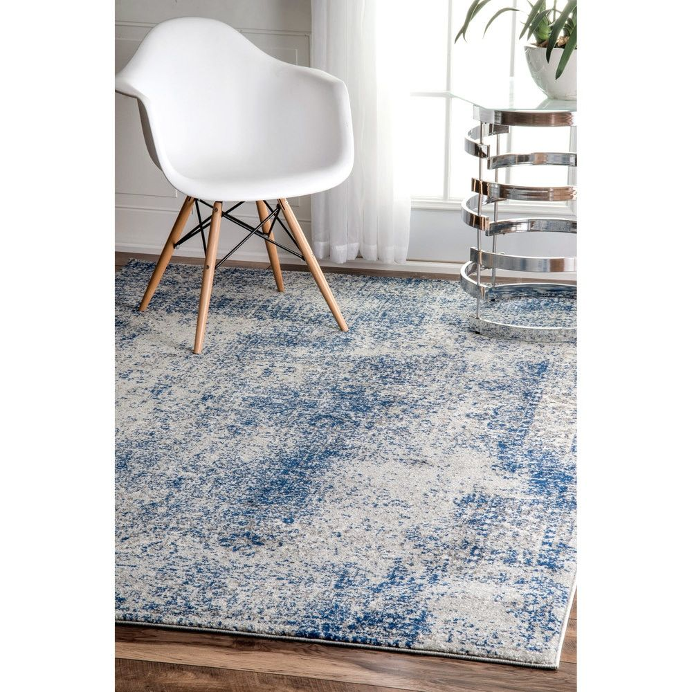 nuloom vintage distressed blue rug 8 x