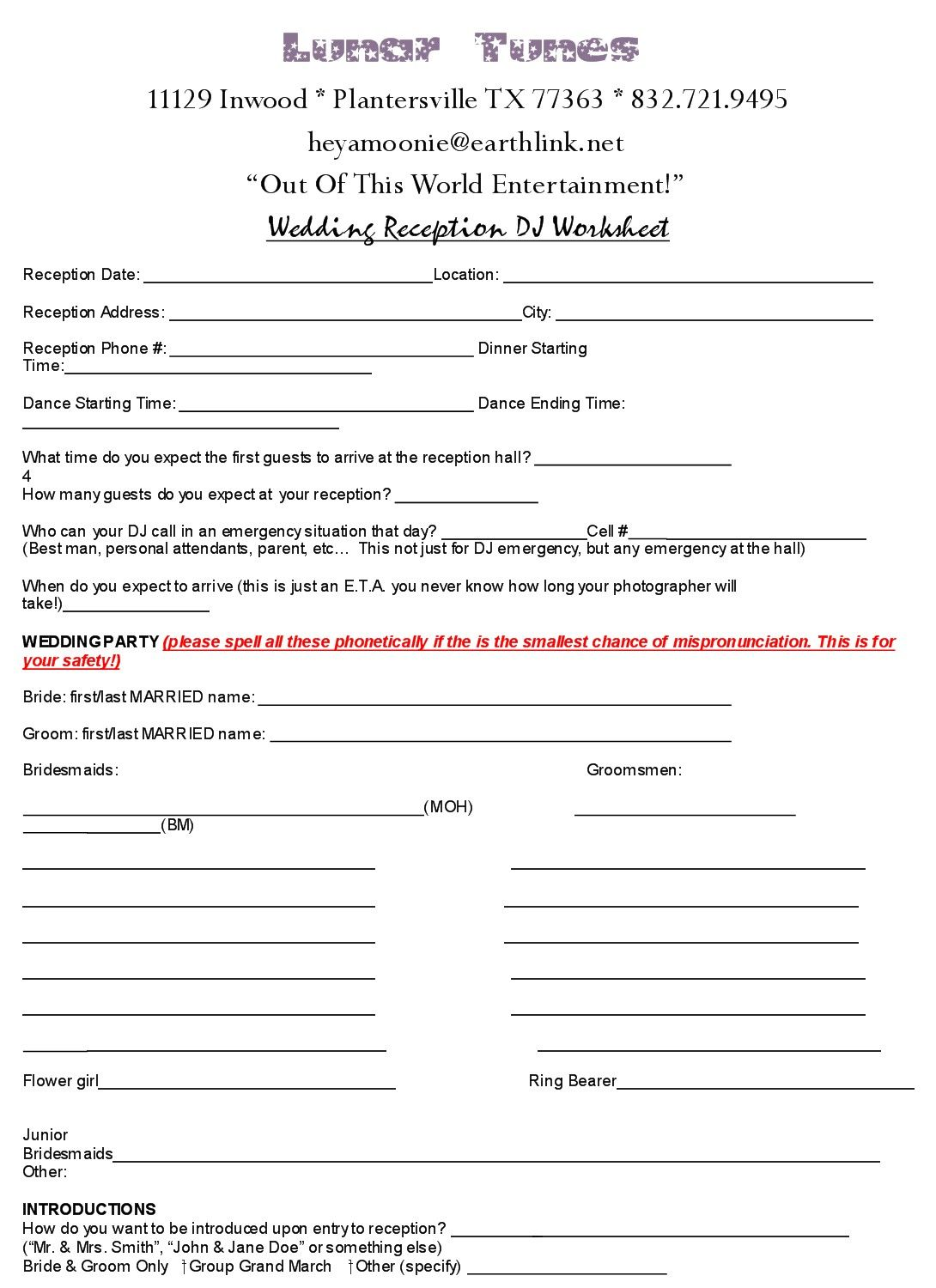 Wedding Dj Worksheet And Checklist
