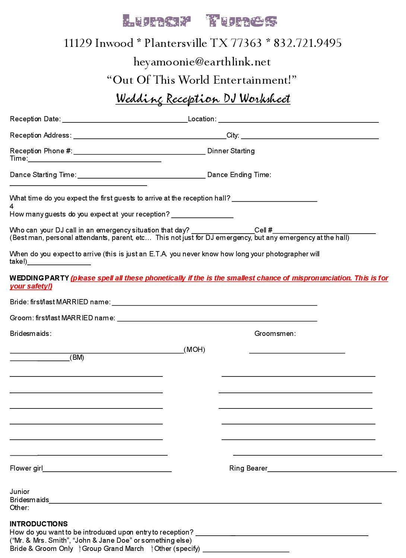 Wedding Dj Worksheet Yesidomariage