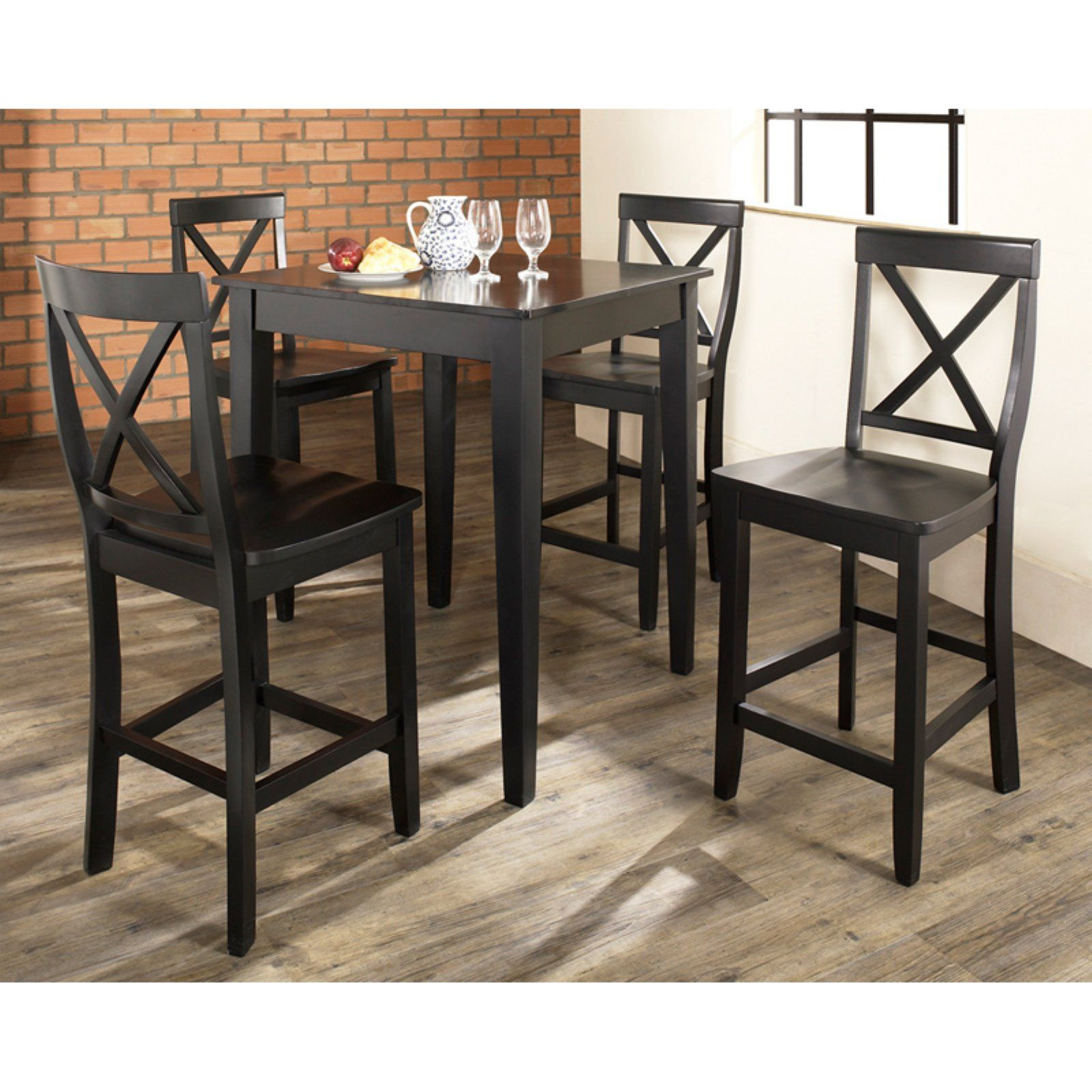 Crosley 9 Piece Pub Dining Set with Tapered Leg and X Back Stools ...