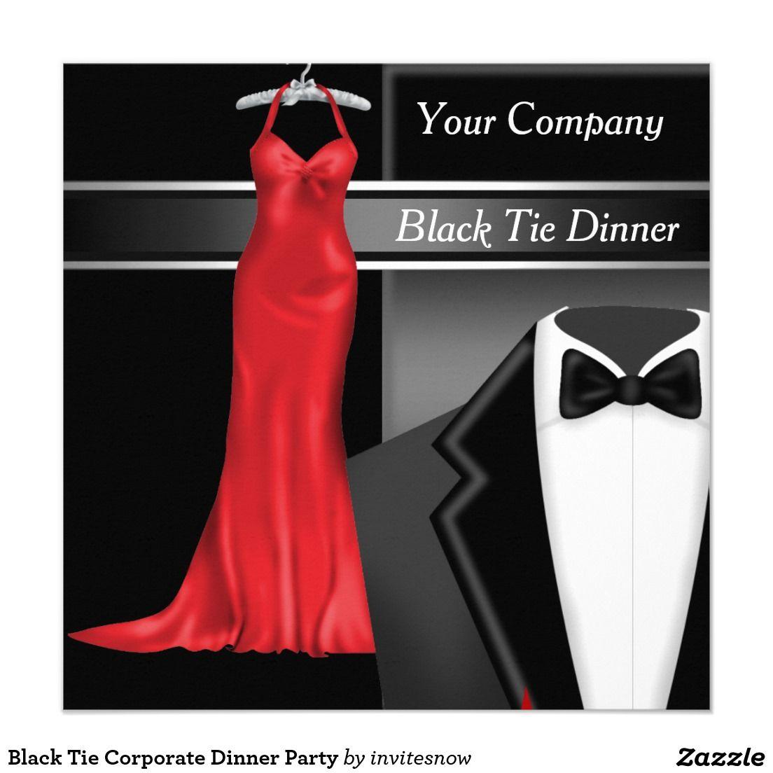 Black Tie Corporate Dinner Party Invitation   Zazzle.com ...