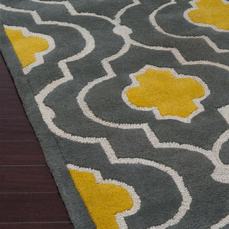Grey Essex Rug Love Yellow