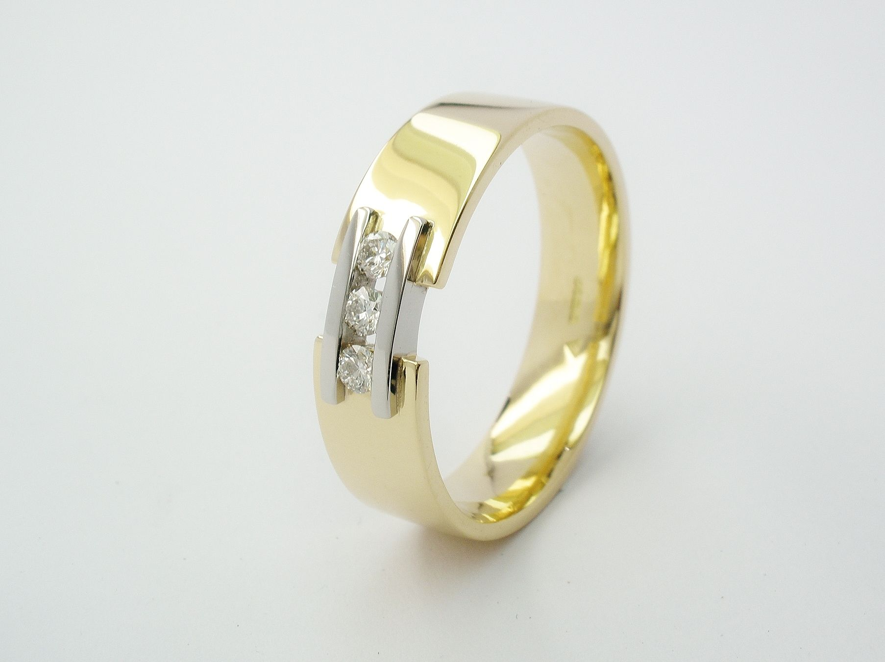 Diamond Gold Platinum Tram Line Gents Wedding Ring 18ct Yellow With A Pair Of Wires Inlayed Bridging
