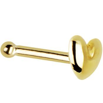Solid 14KT Yellow Gold Heart Nose Bone  CLICK IMAGE TO SHOP NOW Solid 14KT Yellow Gold Heart Nose Bone