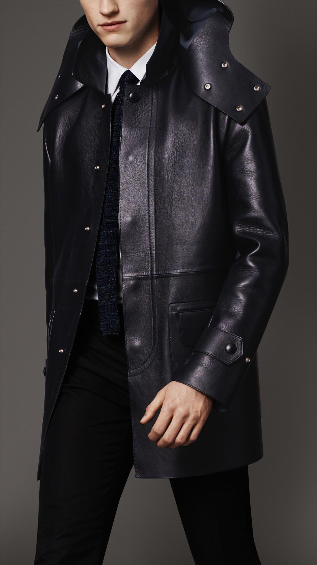 a679c1f5df2 Manteau en cuir nappa à capuche amovible