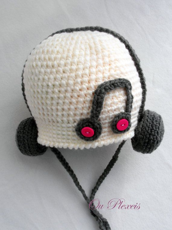 Crochet baby hat hat with headphones crochet baby by Ouplexeis Boina Em  Croche 31b1bd7b4a2