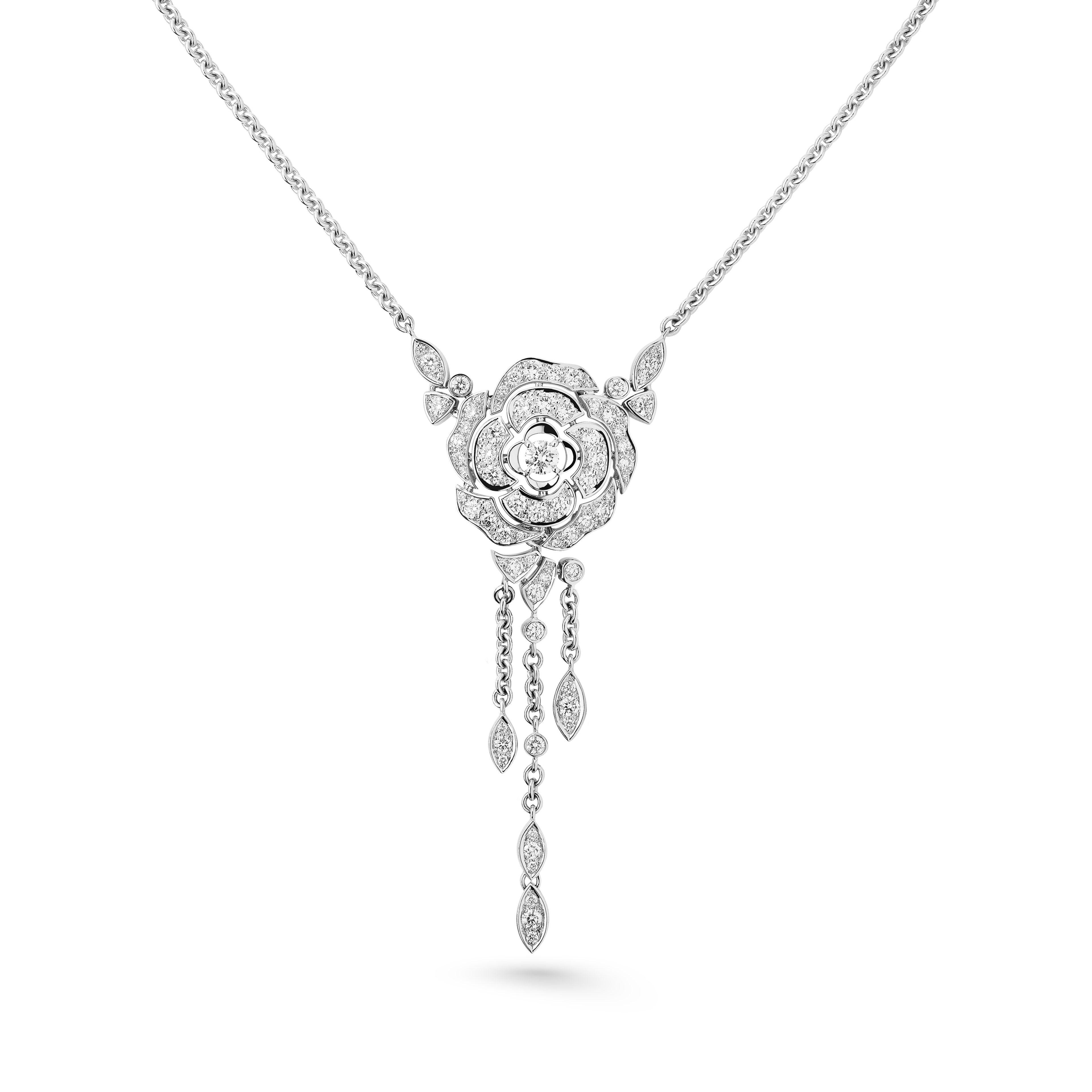 7c28282e475d09 Camélia necklace - Bouton de Camélia necklace in 18K white gold and diamonds  with one center diamond - Alternative view - see full sized version