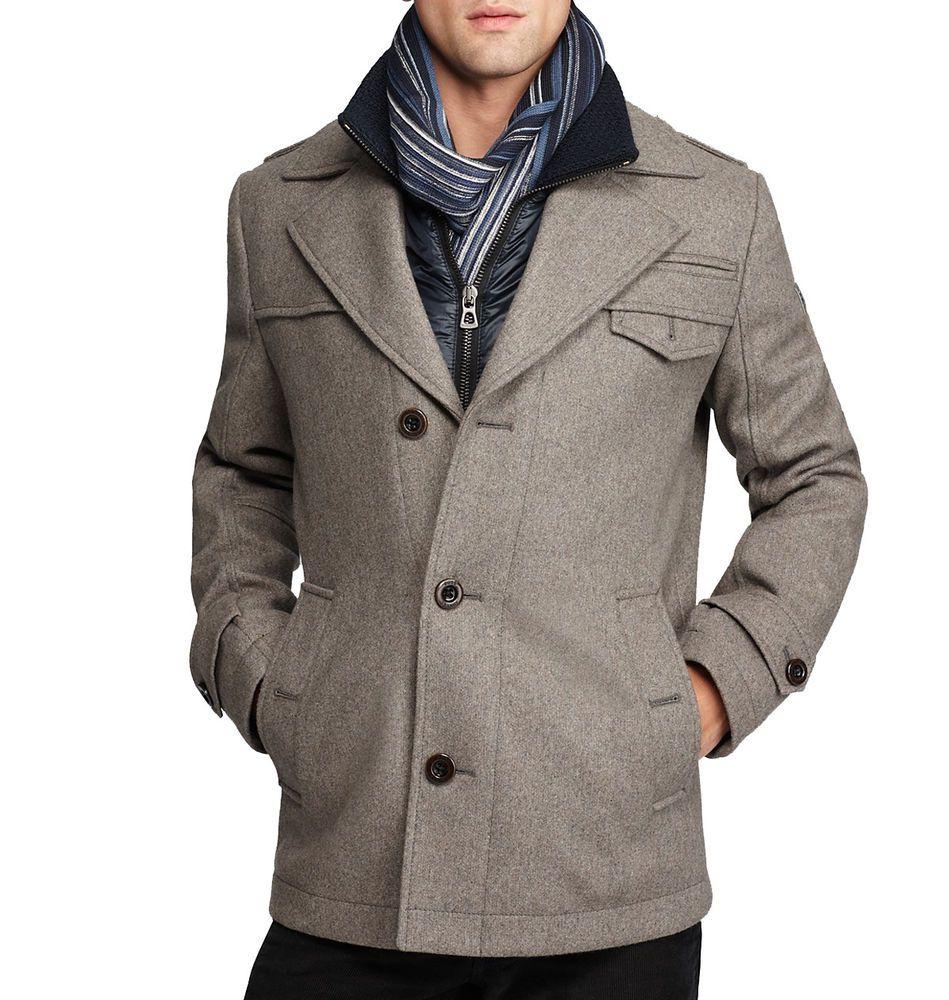 Ebay Sponsored Boss Orange By Hugo Boss Men S Ofanta Wool Jacket Pea Coat Grey 44 Mens Winter Coat Wool Jacket Wool Winter Coat [ 1000 x 949 Pixel ]