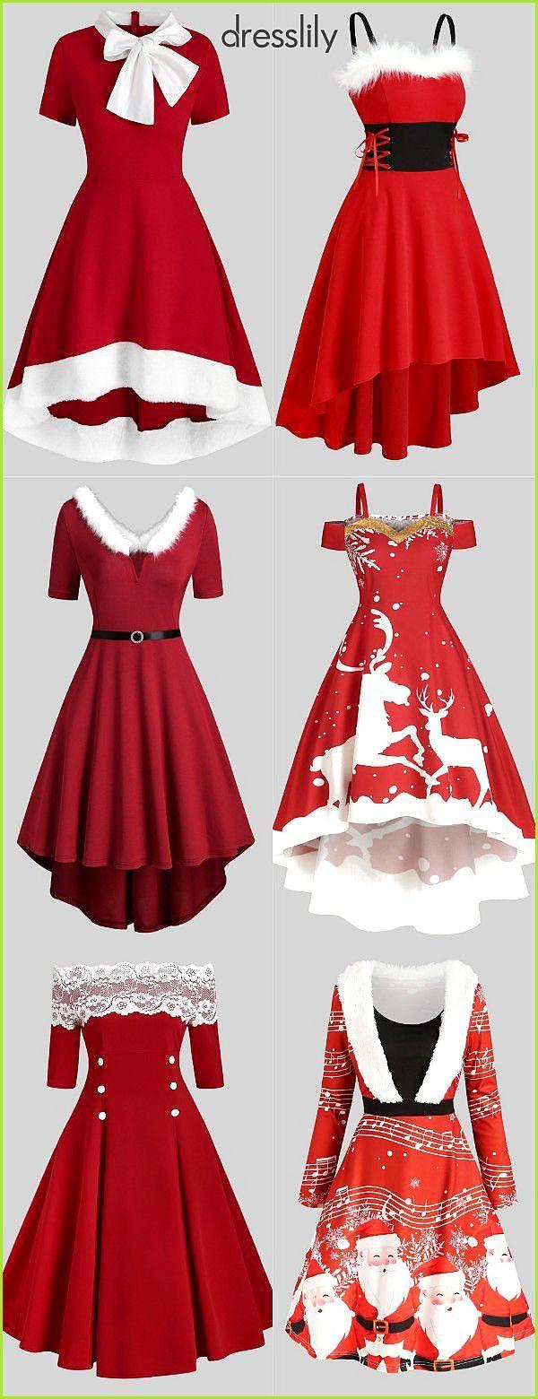 Weihnachten rote Kleider Frauen Fit & Flare Kleider in 13