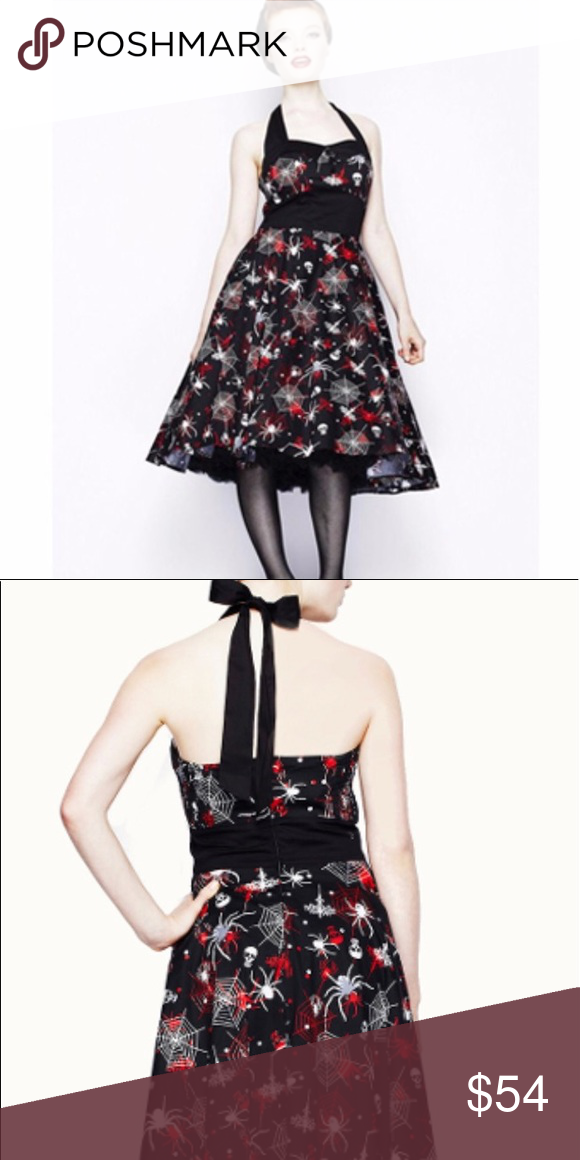 083628ed3c8 Hell Bunny Seth Spider Rockabilly Dress goth witch Gorgeous Hell Bunny dress  with clockhem and spiderweb and skull -pattern.