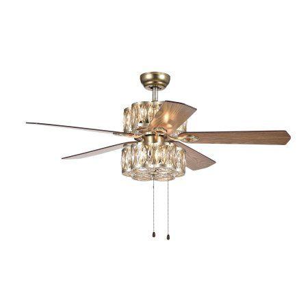 Gaspar 52 inch 5 blade modern ceiling fan antique silver