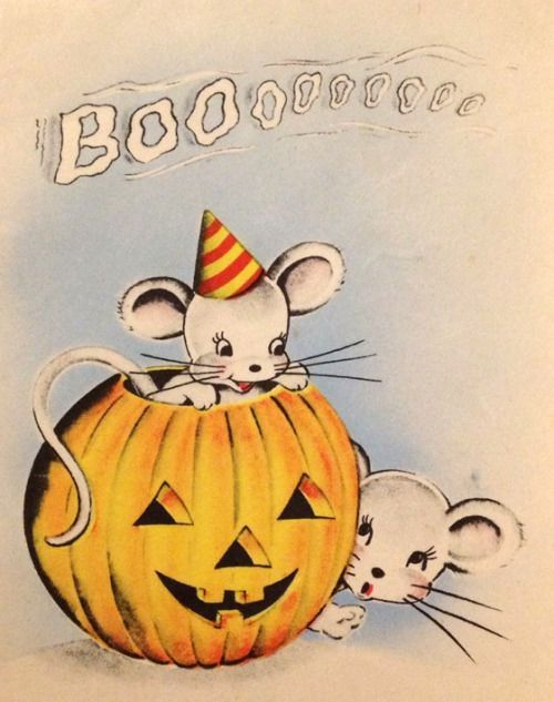 Vintage Halloween Greeting Card With Cute Mouse Wearing A Birthday Hat In Jack Olantern