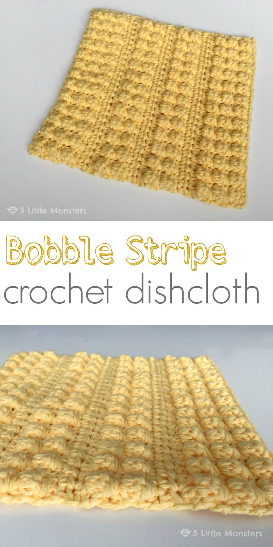 Bobble Stripe Crochet Dishcloth | Frazada, Puntos crochet y Ganchillo