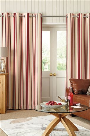 Buy Red Woven Stripe Eyelet Curtains From The Next UK Online Shop