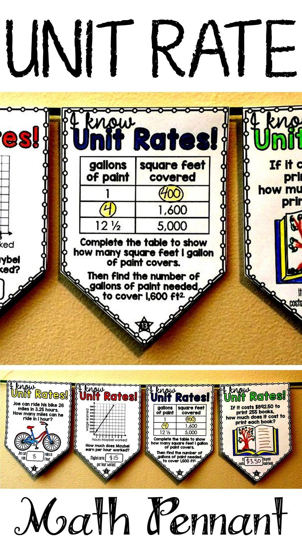 Unit Rates Math Pennant Activity Math Pennant Unit Rate 6th Grade Activities
