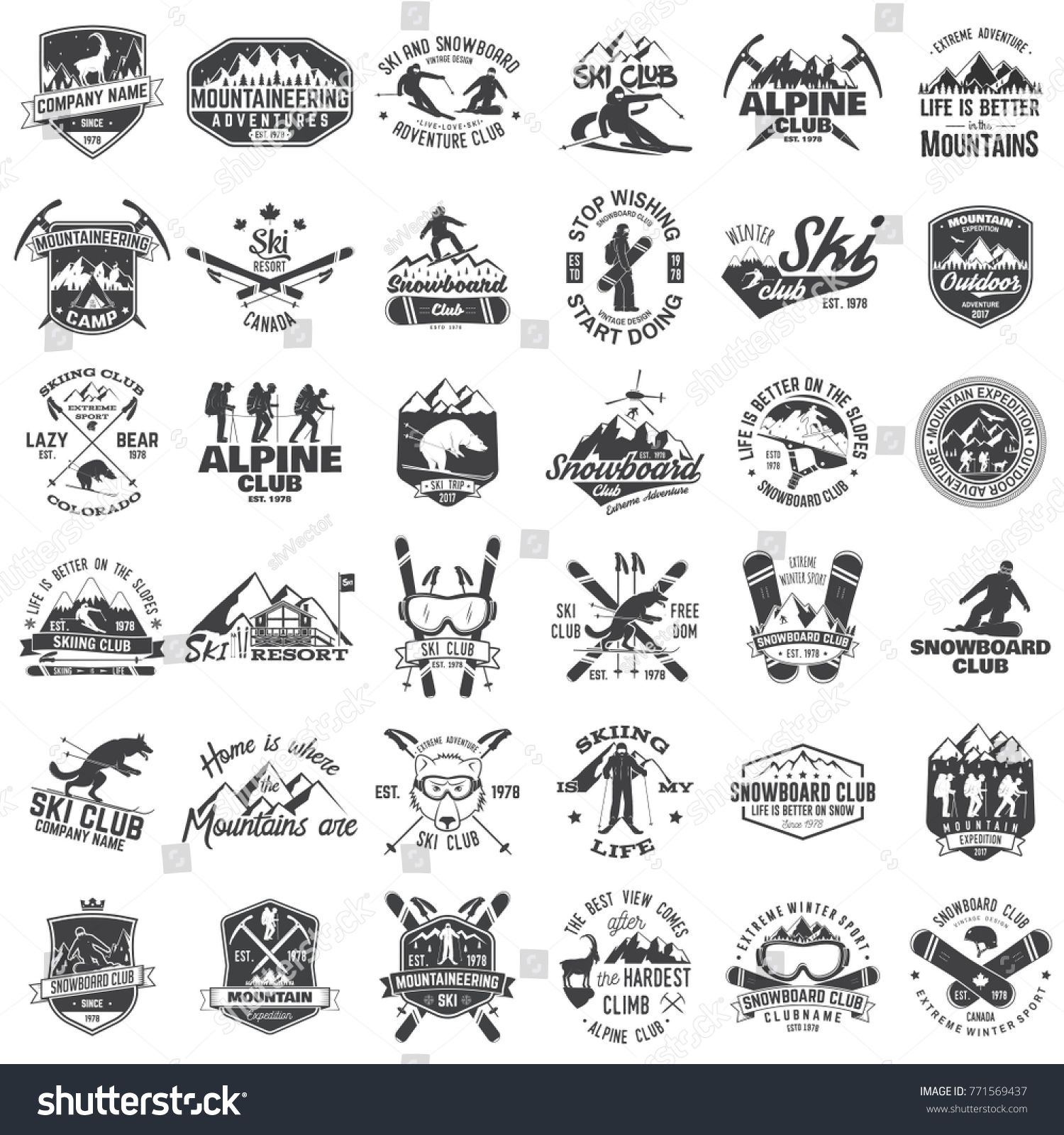 Mountain Expedition Ski And Snowboard Club Emblem Vector Illustration Concept For Shirt Print Vintage Typography Design Vintage Typography Winter Extreme