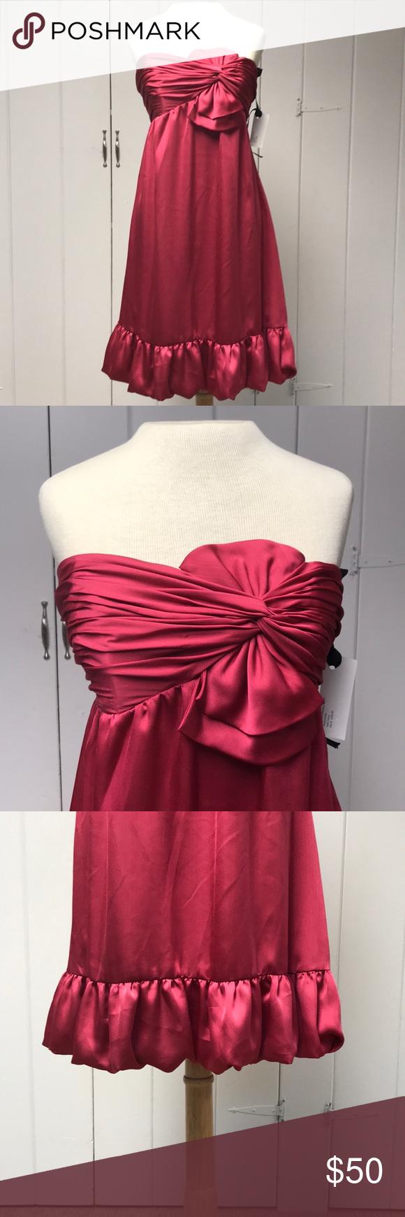 Wine red formal cocktail dress bridesmaid nwt my posh picks