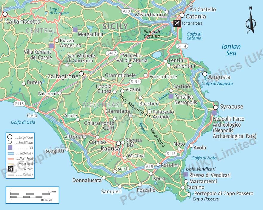 Map of south east Sicily produced by PCGraphics See more of our