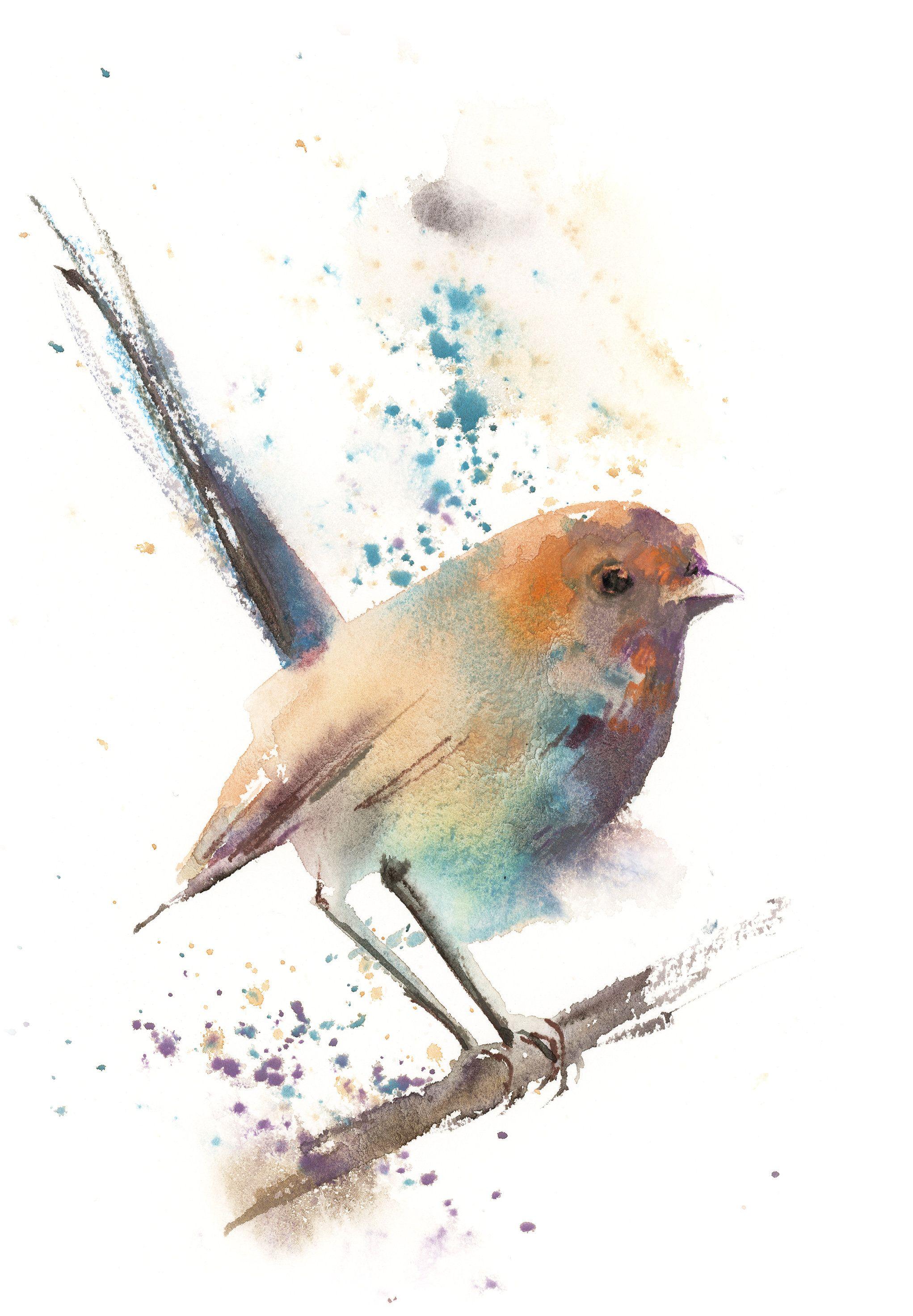 Original Watercolor Bird Painting Pastel Colored Rainbow Roller