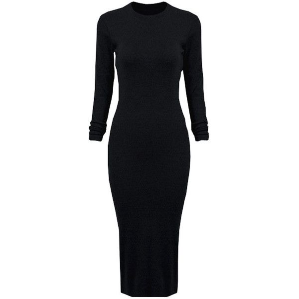 Black Long Sleeve Split Back Bodycon Dress ($35) ❤ liked on Polyvore featuring dresses, black longsleeve dress, long dresses, black bodycon dress, kohl dresses and body con dress