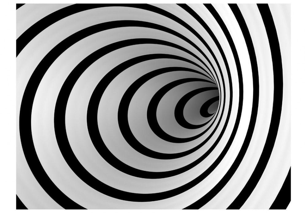 Fotomural A Medida Un Tunel 3d En Blanco Y Negro Cuadros Blanco