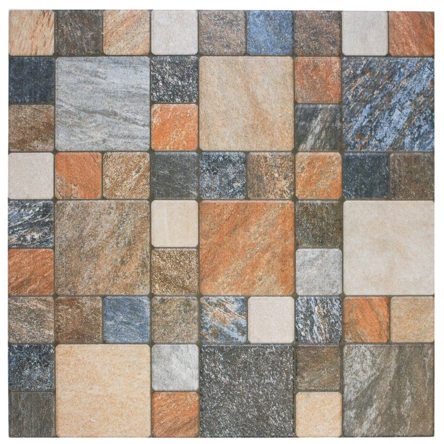 The Somertile Folio Por Noce Porcelain Floor And Wall Tile Features A Glaze Crafted To Look Like Cut Stone Various Squares Range Of Earth Tones