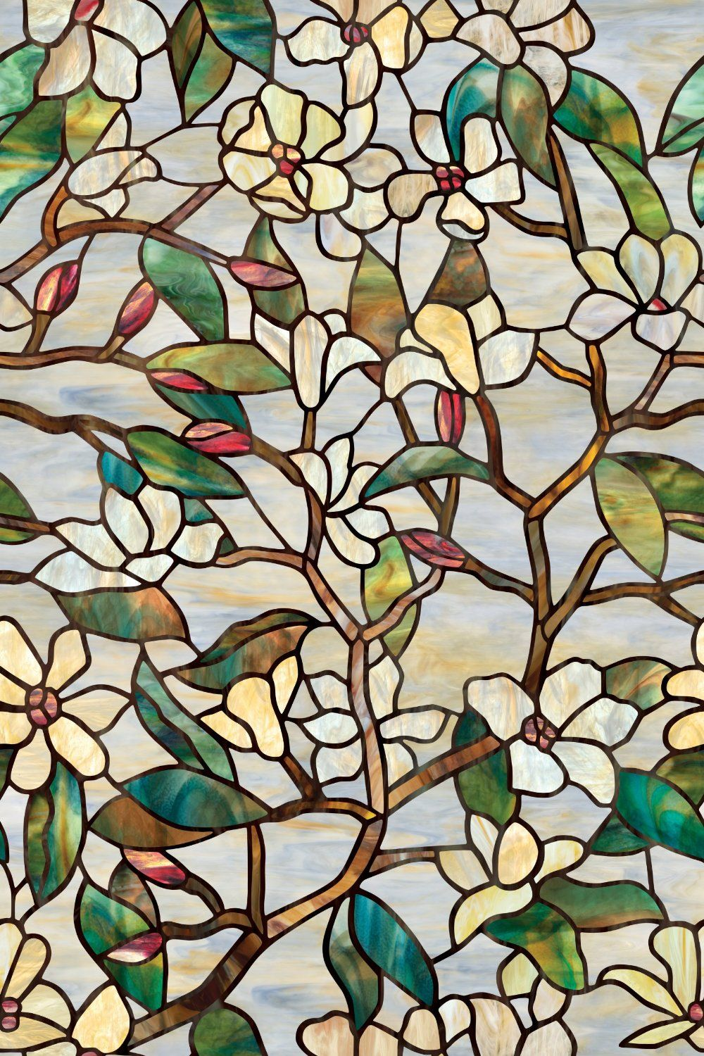 Amazoncom Artscape Inch By Inch Summer Magnolia - Stained glass window stickers amazon