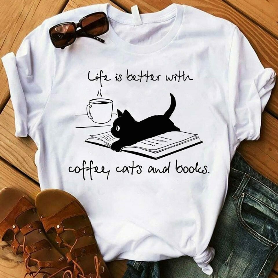 Photo of Life is Better With coffee, Cats and books T-Shirt
