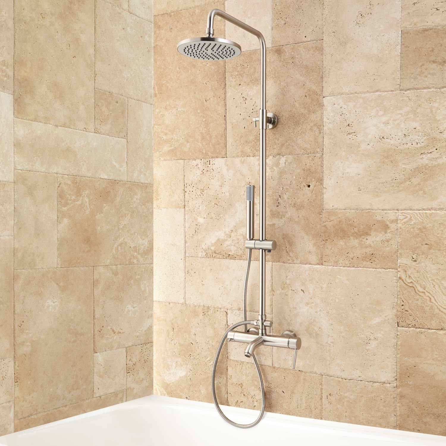 Ansari Exposed Pipe Tub and Shower Set Shower tub