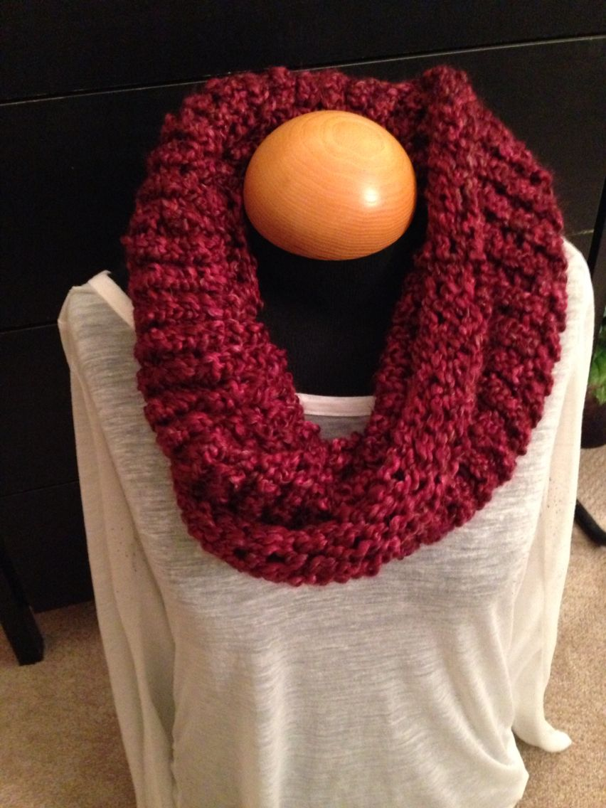 Handmade knit infinity winter scarf - Claret.  By: Scarves by Chelsey   #knit #infinity #scarf #handmade #scarves #winter #warm #fashion www.facebook.com/scarvesbychelsey Check us out on Etsy!