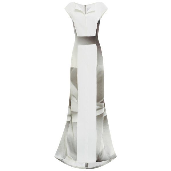 Carolina Herrera White Rose Spectrum Dress With Wide Plastic Belt (16.555 BRL) ❤ liked on Polyvore featuring dresses, gowns, carolina herrera, cap sleeve dress, white evening gowns, white collar dress, rose dress and rose print dress