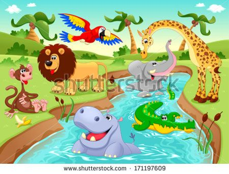 African animals in the jungle Cartoon and vector illustration - new jungle powerpoint template
