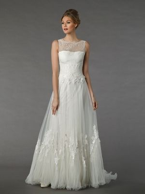 Illusion A-Line Wedding Dress with Natural Waist in Silk Organza ...
