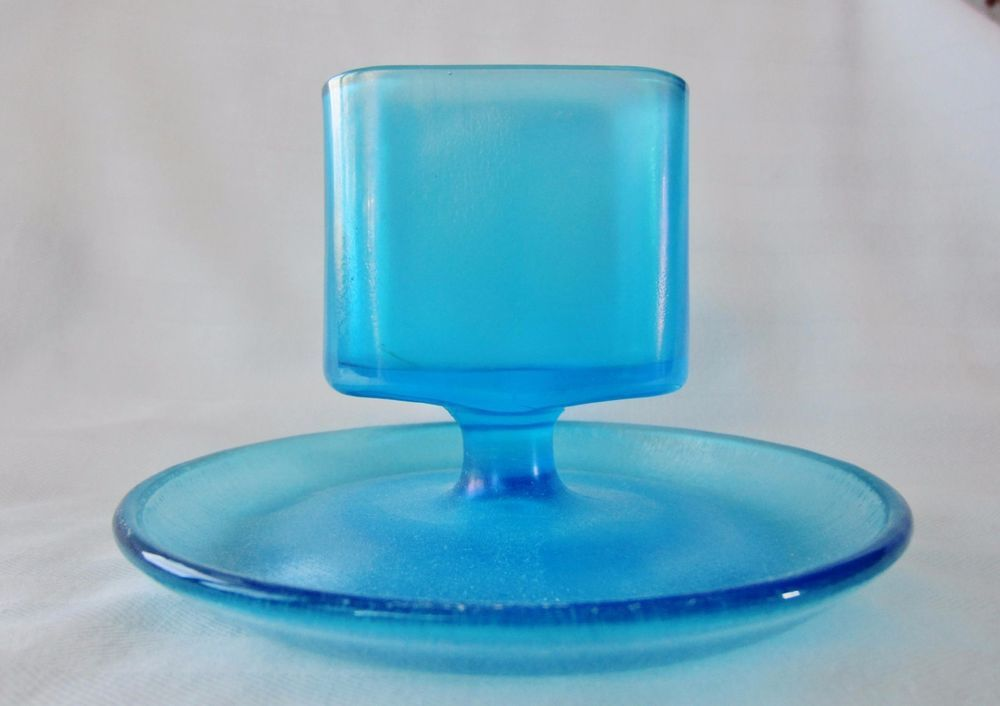 Fenton Blue Stretch Glass Art Deco Cigarette - Business Card Holder ...
