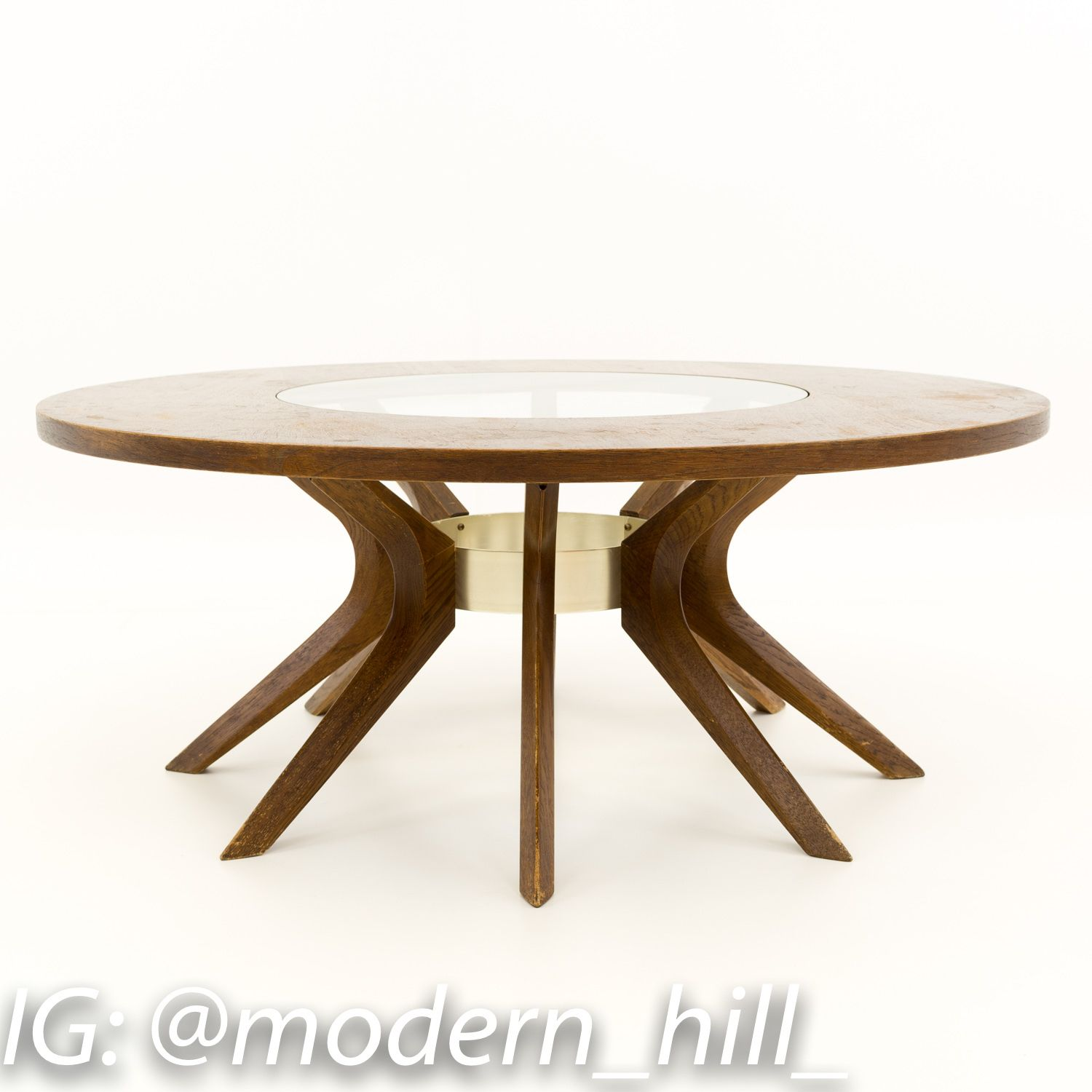 Broyhill Brasilia Cathedral Glass And Walnut Mid Century Round Coffee Table Round Mid Century Modern Coffee Table Mid Century Modern Coffee Table Coffee Table [ 1500 x 1500 Pixel ]