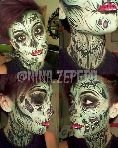 Pop art zombie makeup! By @nina.zepeda on Instagram #halloween #zombie #makeup #popartzombie