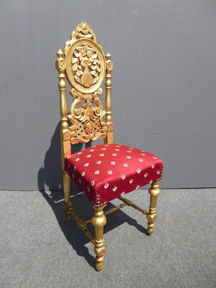 Unique Vintage ROCOCO French Provincial Ornate Gold U0026 Red Petite Accent  CHAIR #ROCOCOFrenchProvincial #Unknown