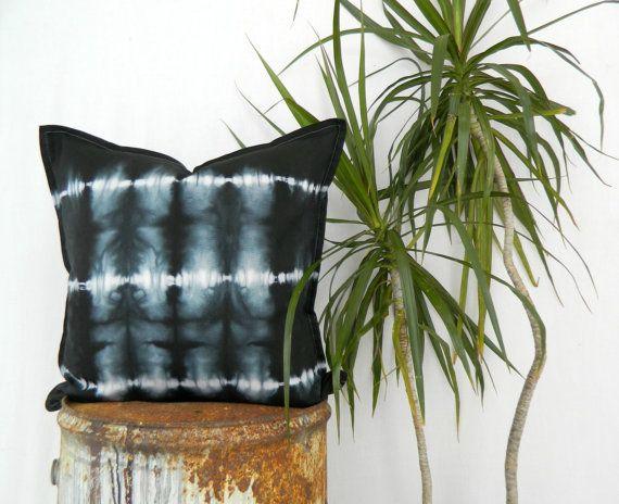 WAYFARER . tie dye cushion cover . black . cotton by bohemianbabes
