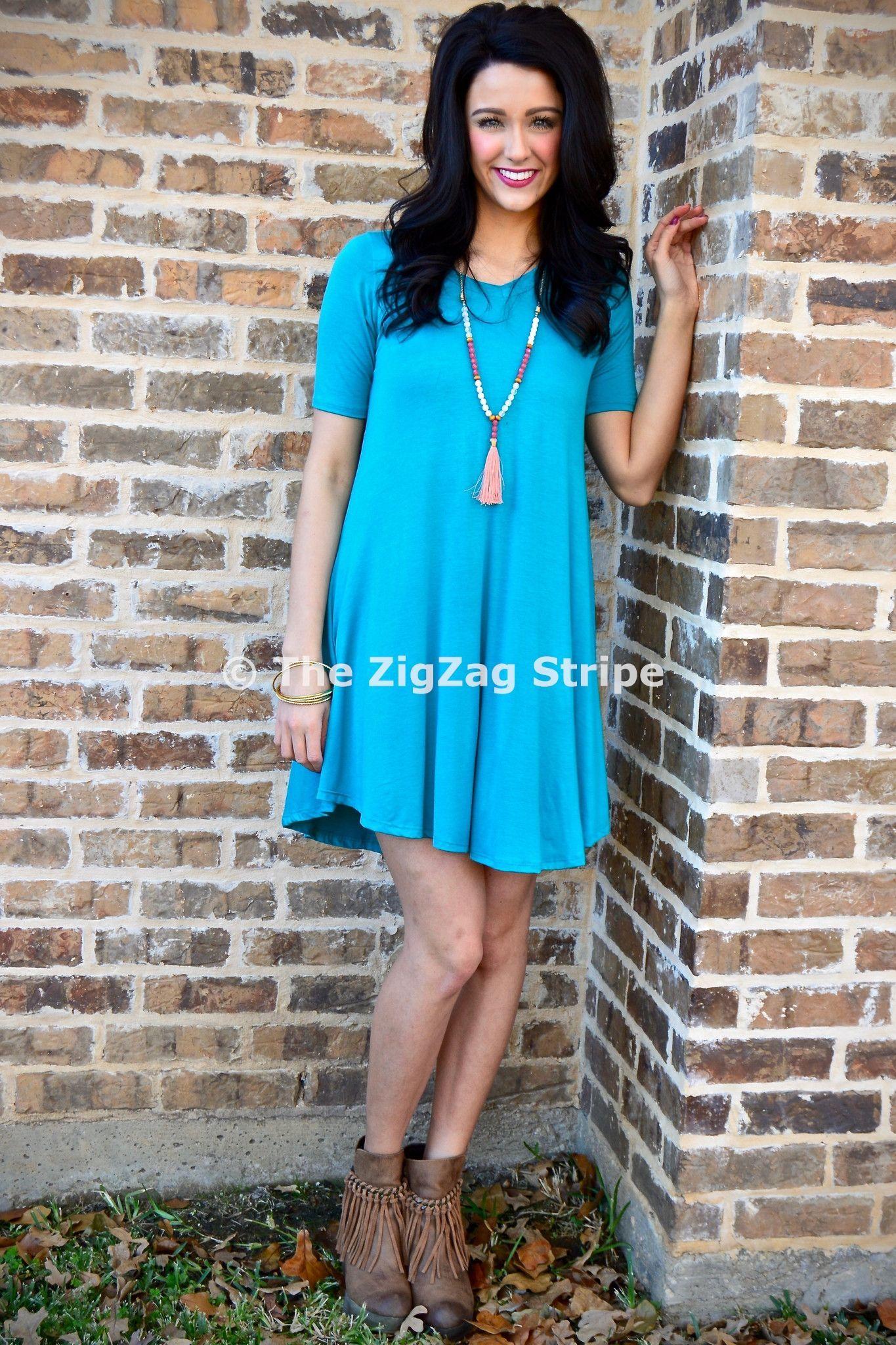 Turquoise Basic Dress