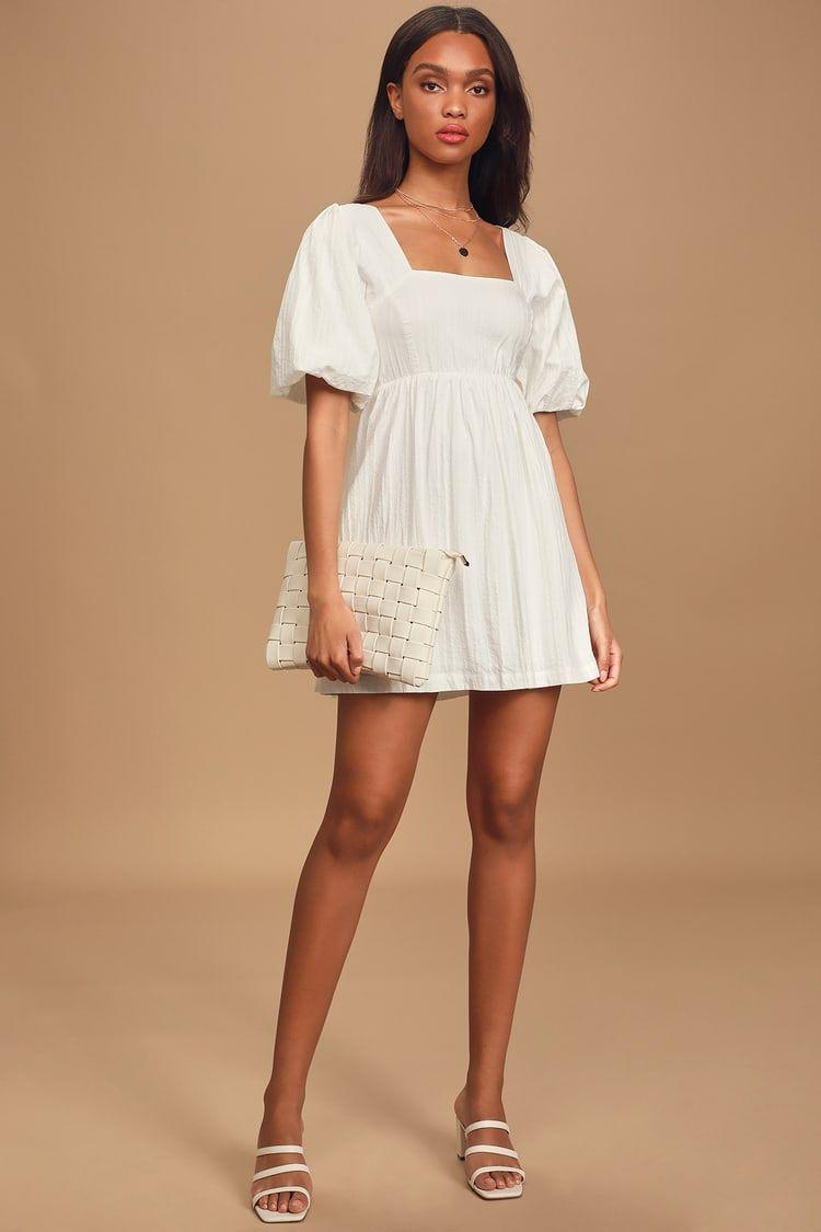 Maximum cuteness white puff sleeve babydoll dress in 2020