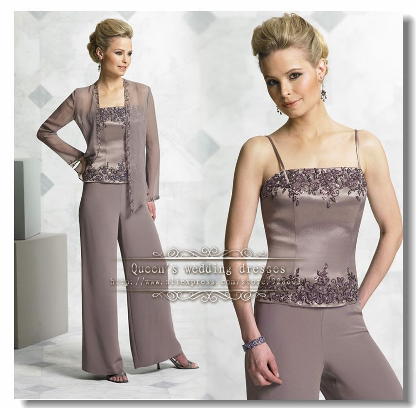 Aliexpress.com : Buy Gray three piece Chiffon mother of the bride ...