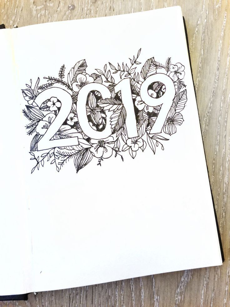 A minimalist black and white reversed floral illustration for my 2019 cover. #bujo #bulletjournal #b...